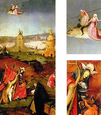 La tentación de san Antonio, brujería, El Bosco