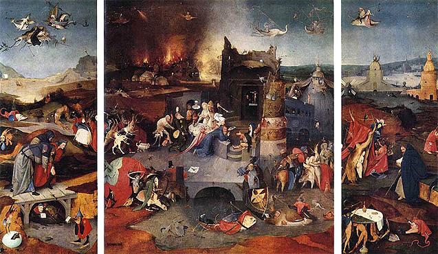 La tentación de san Antonio, tríptico, hacia 1505, El Bosco, Lisboa