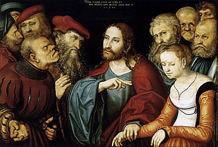 Cristo y la mujer adúltera, 1532, Lucas Cranach el Viejo