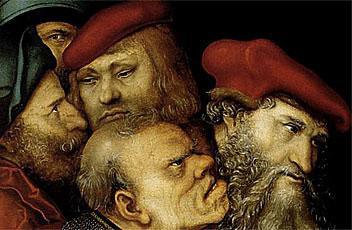 Cristo y la mujer adúltera, 1532, Lucas Cranach