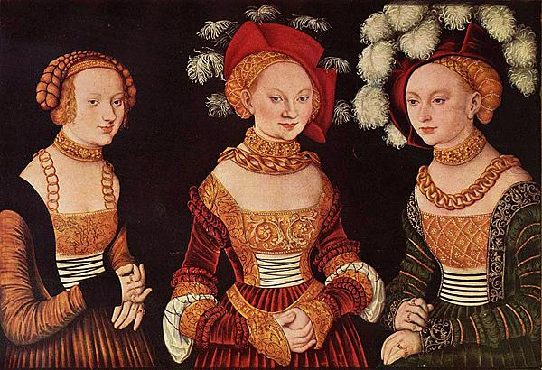 Retrato de tres princesas sajonas, hacia 1535, Lucas Cranach el Viejo