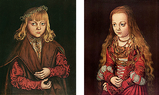 Retratos de un príncipe y de una princesa sajona, 1517, Lucas Cranach el Viejo
